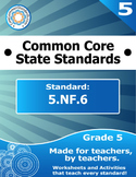 5.NF.6 Fifth Grade Common Core Bundle - Worksheet, Activity, Poster, Assessment