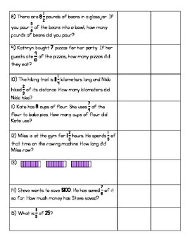 5.NF.6 WS - Multiplication of Fractions (Word Problems) - (KEY INCLUDED)