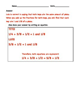 """5.NF.A.1 and 5.NF.A.2 """"Stuffed with Pizza"""" Fraction Partner Activity"""