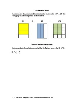 5.NF.B.6 Fraction Multiplication Word Problems