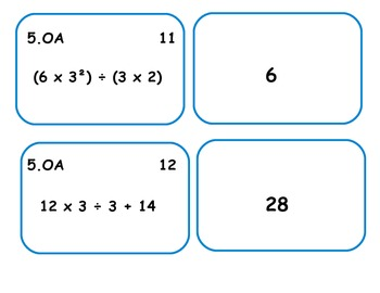 5.OA CCSS centers for algebraic thinking -5th Grade Bundle Pack
