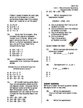 5.OA.1 & 5.OA.2 Order of Operations, Parentheses Brackets Braces ASSESSMENT Test