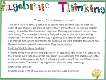 Algebraic Expressions - Write expressions for Word Problems Grade 4-6