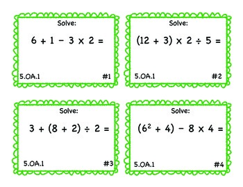 5.OA.1 Common Core Math Task Cards