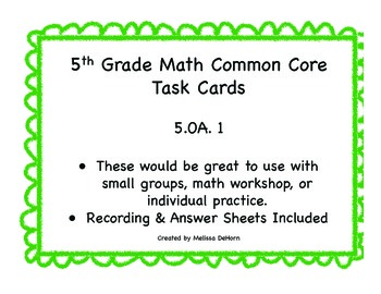 5.OA.1 Common Core Math Task Cards
