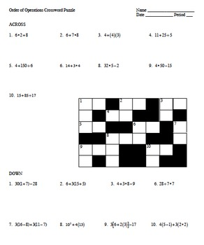 5.OA.1 Order of Operations Crossword Puzzle
