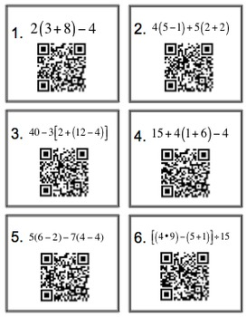5.OA.1 Order of Operations with Parenthesis; Check with QR Codes