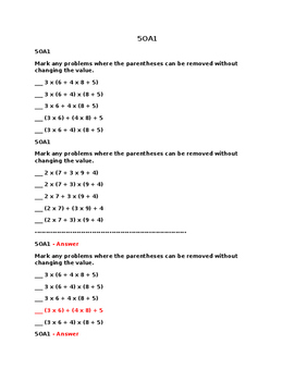 5OA1 Pre and Post Assessments
