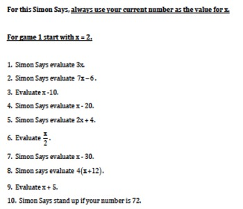 5.OA.1 Simon Says Game-Evaluate