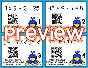 5OA1 Parentheses & Brackets (Grouping Symbols) *QR* MATH TASK CARDS