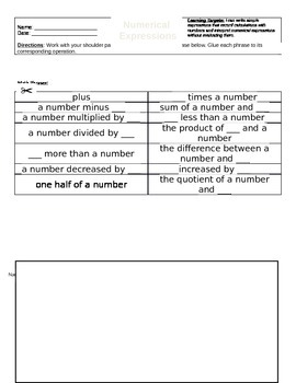 5.OA.2 Cut and Paste Sorting Activity