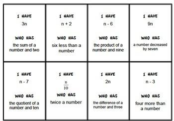 5.OA.2 I Have Who Has Class Game, Translate