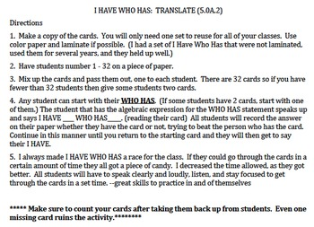 5.OA.2 I Have Who Has Class Game, Translate