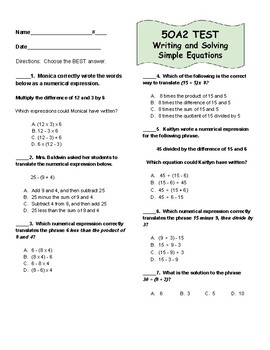 5OA2 Simple Expressions Test