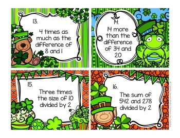 5.OA.2  St. Patricks Day Seat Scoot Class Activity- Writing Expressions