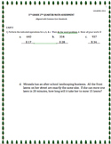 5TH GRADE 2nd QUARTER Common Core Math Assessment (ANSWER
