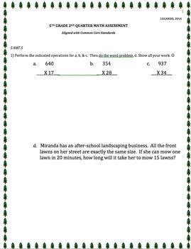 5TH GRADE 2nd QUARTER Common Core Math Assessment (ANSWER