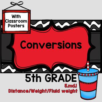 5TH GRADE Conversions CCSS 5.md.1 COMMON CORE inches miles ounces tons gallon