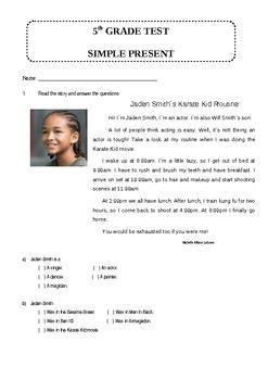5TH GRADE SIMPLE PRESENT TEST