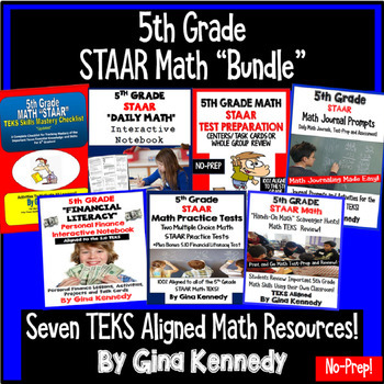 5th Grade STAAR Math Test-Prep Product BUNDLE