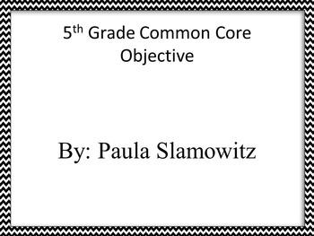 5TH Grade Common Core Objectives