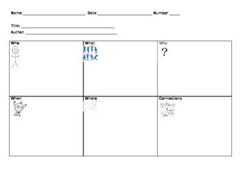 RL/RI3.1 5W Graphic Organizer with Illustrations & Connections