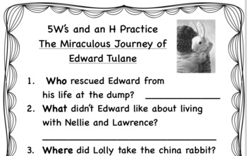 5W's and H Practice with The Miraculous Journey of Edward Tulane