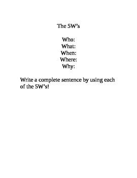 5W sentence writing