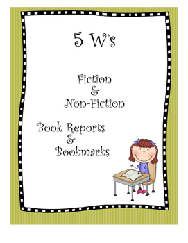 5W's Book Reports and Bookmarks