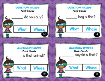 5Ws and H Question Words TASK CARDS
