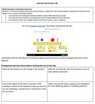 5e Explore PhET Gravity and Forces for NGSS MS-PS-2-4 GOOGLE