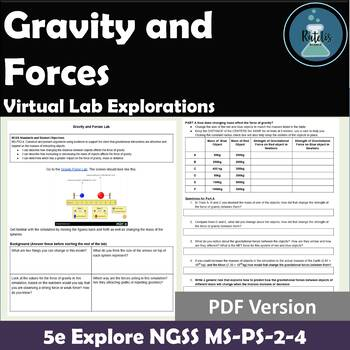 5e Explore PhET Gravity and Forces for NGSS MS-PS-2-4 PDF