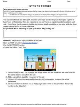 5e Explore PhET Forces, Mass, and Motion for NGSS MS-PS-2-2 PDF
