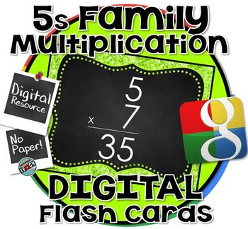 5s Facts - DIGITAL (Google) Multiplication Flash Cards -5's Family