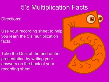 5's Multiplication Facts Interactive Powerpoint with Graphic Organizer