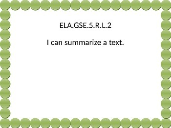5t grade ELA I Can statements  Green dot