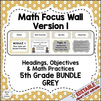 Eureka Math / Engage NY - Math Focus Wall Headings 5th Grade Color Grey