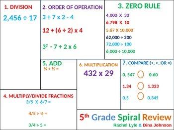 5th / 4th Grade MATH Common Core Spiral Review