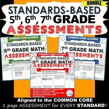 5th, 6th, 7th Grade Math Standards Based Assessments BUNDLE - Common Core