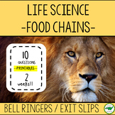 5th - 6th Grade Bell Ringers / Exit Slips - Food Chains