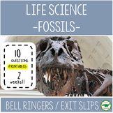 5th - 6th Grade Bell Ringers / Exit Slips - Fossils