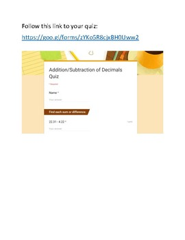 Decimal Addition/Subtraction Quiz (Self-Grading Google Form 20 Questions)