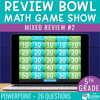 5th / 6th Grade Math Game - End / Beginning of Year #2