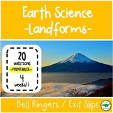 5th - 6th Grade Science Bell Ringers / Exit Slips - Landforms