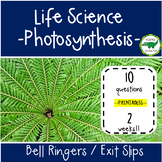 5th - 6th Grade Science Bell Ringers / Exit Slips - Photosynthesis - Plants