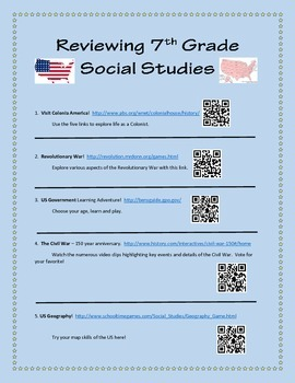 5th 7th Social Studies QR Code- Review, Reinforcement or Summer Enrichment