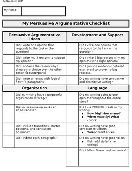 5th 8th grade act aspire persuasive writing checklist student