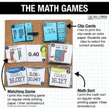 5th - Add and Subtract Decimals Math Centers - Math Games