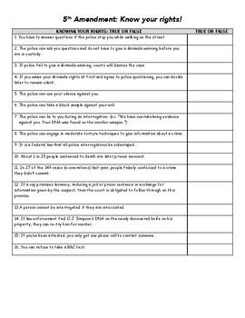5th Amendment True or False Activity, with Answer Key