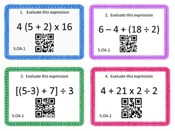 5th Common Core 5.OA.1 Order of Operations Task Cards {QR Codes}